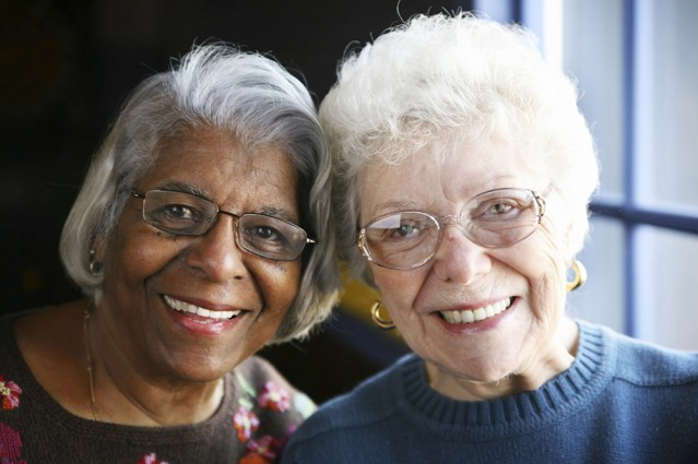 Two senior women smiling