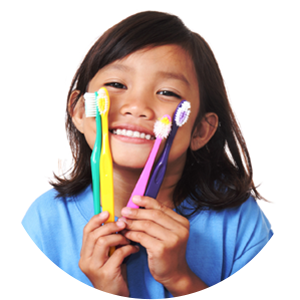 Girl with Toothbrushes